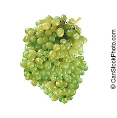 Fresh green grapes isolated on white
