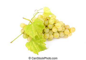 Fresh green grapes with leaves