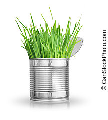 grass in can