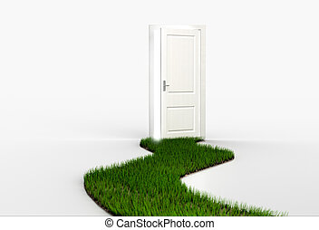 Fresh green grass path leading to open white door