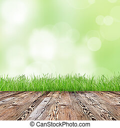 Fresh green grass with wooden desk.
