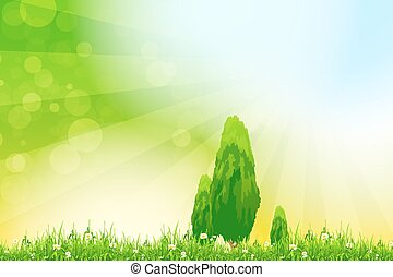 Fresh green grass with yellow bokeh