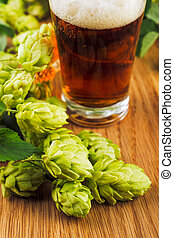 Fresh  green hops with beer
