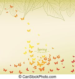 Fresh green leaves and butterflies