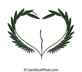 Fresh Green Leaves in A Heart Shape
