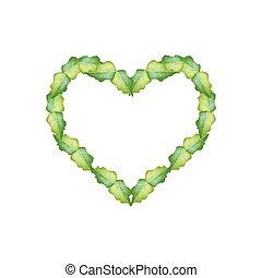 Fresh Green Leaves in Beautiful Heart Shape