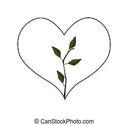 Fresh Green Leaves in Heart Shape Frame
