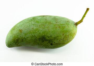 fresh green mango fruit isolated