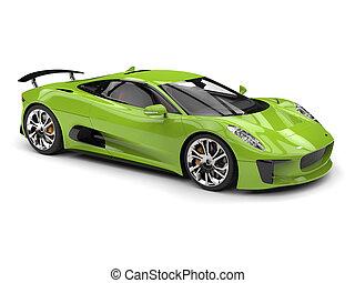Fresh green modern sports car - studio shot