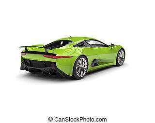 Fresh green modern sports car - tail view - studio shot