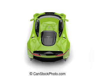 Fresh green modern sports car - top down back view