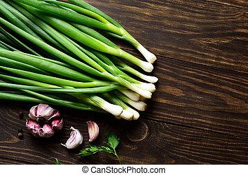 Fresh green onion and garlic