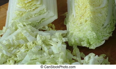 Fresh green organic healthy sliced and chopped chinese cabbage