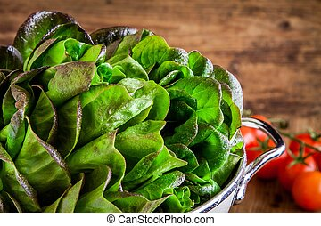 fresh green organic lettuce with tomatoes in a colander closeup