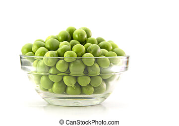 Fresh Green pea in the glass bowl isolated on a white background