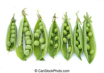 fresh green pea on the white background