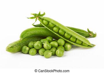 green pea - Fresh green pea pod on white background
