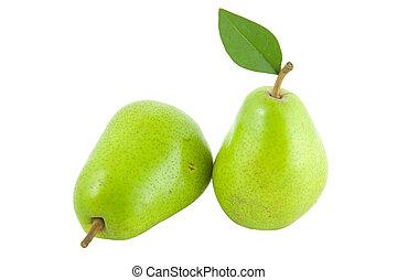 fresh green pear with leaf