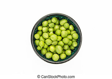 Fresh green peas in bowl, isolated on white background