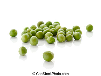 fresh green peas isolated over white background