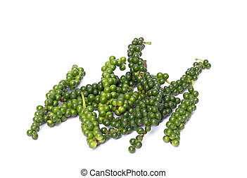 Fresh green peppercorns on white background