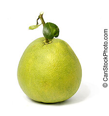 fresh green pomelo fruit on white background
