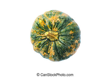 Fresh Green pumpkin Isolated with Clipping path Top views, above backgrounds