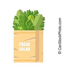 Fresh green salad in paper bag