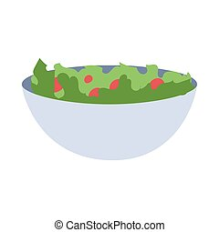 fresh green salad on white background