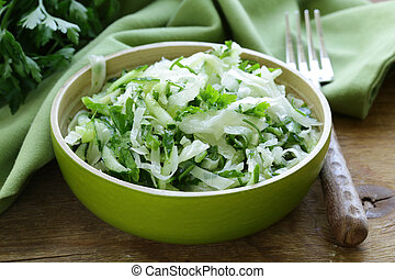 fresh green salad with cabbage