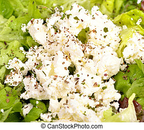 Fresh green salad with cheese
