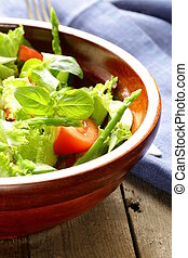 fresh green salad with tomatoes