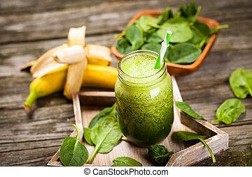 Fresh green smoothie - Fresh green spinach smoothie on ...