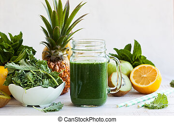 Fresh green smoothie - Fresh kale fruit smoothie in a jar ...