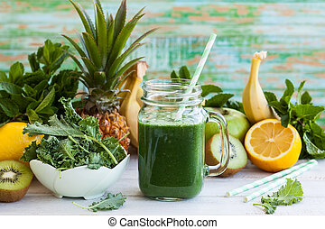 Fresh green smoothie - Fresh kale fruit smoothie in a jar ...