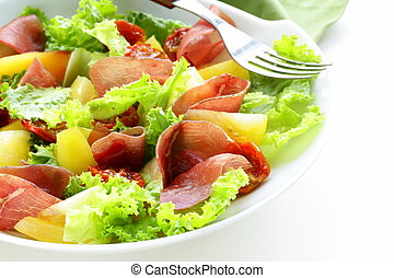 fresh green snack salad with ham