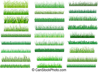 Large set of fresh green spring grass borders in differing shades of green lengths and densities for use as design elements on white