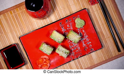Fresh Green Sushi On The Plate - Fresh green rolls on the...