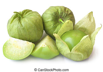 Fresh green tomatillos (Physalis philadelphica) with a husk