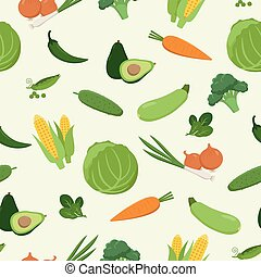 Fresh green various vegetables seamless pattern in flat design. Set of vector vegetables. Cabbage, carrot, corn, avocado, pepper, cucumber, zucchini, peas, broccoli, spinach isolated. Vegetarian food.