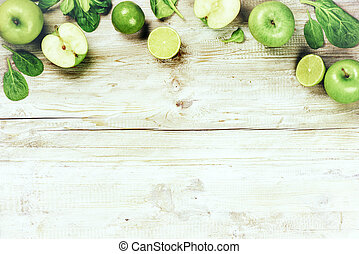Fresh green vegetables and fruits . Detox and diet concept