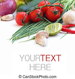 fresh green vegetables on white background (with sample text...