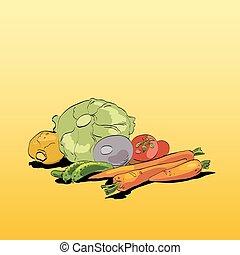 Fresh green vegetables vegetarian cuisine