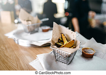 Fresh grilled potato, american fast food