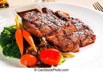 grilled ribeye steak - fresh grilled ribeye steak with...