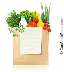 Fresh groceries in a paper bag