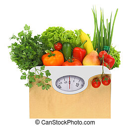 Fresh groceries in a paper bag with weight scale dial
