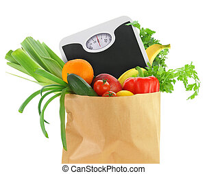 Fresh groceries in a paper bag with weight scale