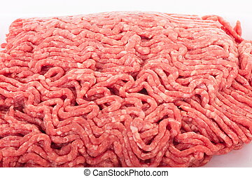 Fresh, coarse ground beef ready for cooking or preparing