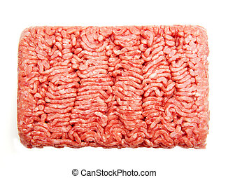 ground beef - Fresh ground beef on a white background...